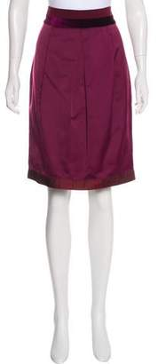 Etro Velvet-Trimmed Satin Skirt w/ Tags