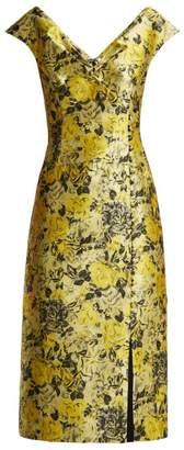 Erdem Joyti Rose Jacquard Midi Dress - Womens - Yellow