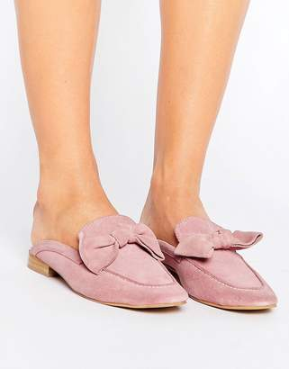 Park Lane Suede Bow Mule Loafer Shoe