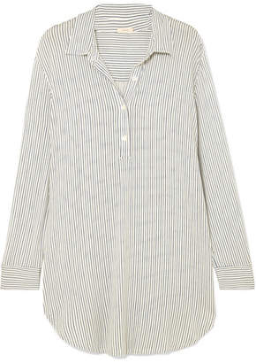 Eberjey The Boyfriend Striped Stretch-modal Pajama Top - Light denim