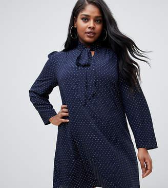 Fashion Union Plus plus tie neck swing dress in metallic spot chiffon