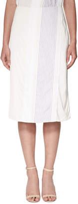 Victoria Beckham Victoria Mock-Wrap Midi Skirt with Stripes, White/Navy