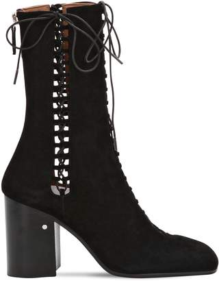 Laurence Dacade 85MM SUZY LACE-UP SUEDE BOOTS