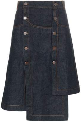 Delada high waisted buttoned denim asymmetric skirt