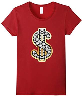 Dollar Sign Gold Diamond $ Bling T-Shirt
