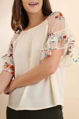 Umgee USA Embroidered Sleeve Top