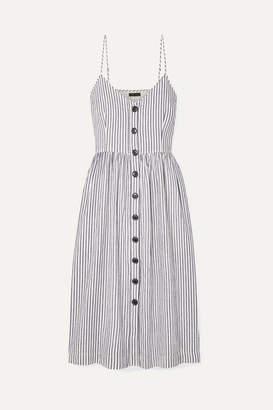 ATM Anthony Thomas Melillo Striped Cotton And Linen-blend Midi Dress