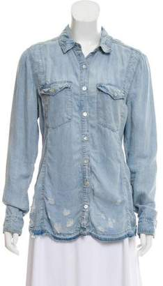 Blank NYC Distressed Button-Up Top