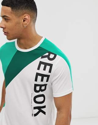 Reebok one series colour block t-shirt in white