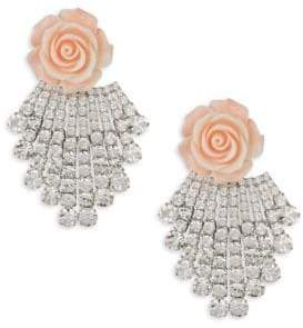 Dannijo Crystal Rose Silverplated Drop Earrings
