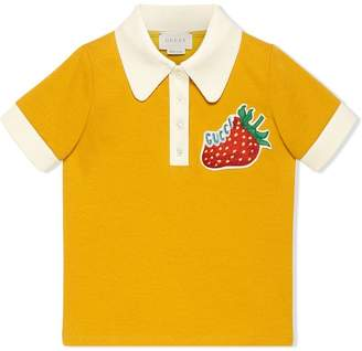 Gucci Kids Children's jersey polo with strawberry
