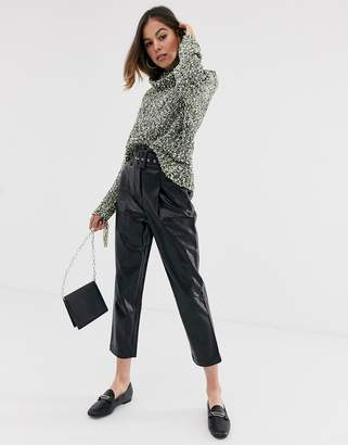 Moon River faux leather cropped pants