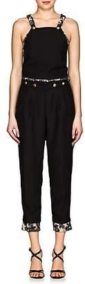 Mayle Maison Women's Lace-Trimmed Crepe Jumpsuit - Black