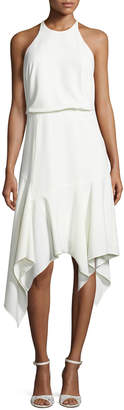 Halston Sleeveless Stretch Crepe Handkerchief Cocktail Dress