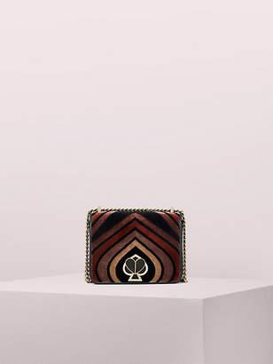 Kate Spade Amelia Flocked Velvet Twistlock Small Convertible Chain Shoulder Bag, Natural