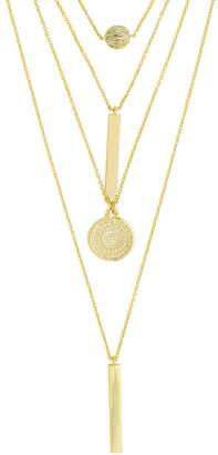 Sterling Forever 14K Gold Plated Mixed Pendant Layered Multi Strand Necklace