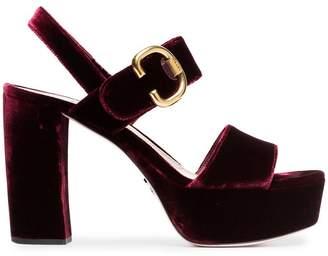 Prada bordeaux red 105 velvet platform sandals