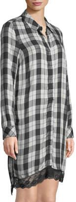 Dex Plaid Lace-Hem Shirtdress