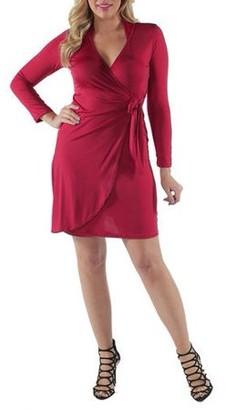 24/7 Comfort Apparel Women's Deep V-neck Long Sleeve Dress