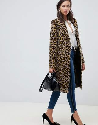 Asos Design DESIGN leopard coat