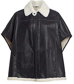 Brunello Cucinelli Women's Leather & Shearling Monili Poncho Jacket