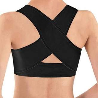 ±0 0 Women\'s Adjustable Posture Corrector X Strap Humpback Vest Back Support Bra - Black (Small)