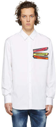 DSQUARED2 White Poplin Relaxed Dan Shirt