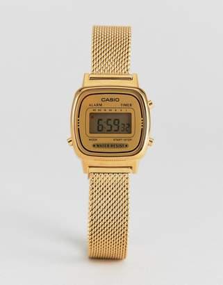 Casio LA670 Digital Mesh Watch In Gold