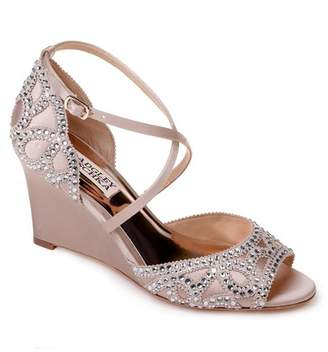 Badgley Mischka Winter Crystal Embellished Wedge Sandal