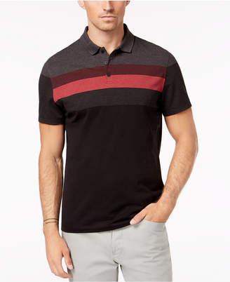 Alfani Men's Striped Honeycomb-Jacquard Polo, Created for Macy's