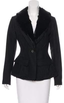 Nina Ricci Fur-Trimmed Virgin Wool Blazer