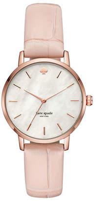 Kate Spade Croco-Embossed Leather Metro Quartz Watch