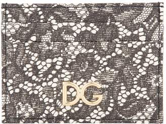 Dolce & Gabbana Lace Printed Leather Card Holder