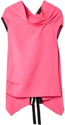 Roland Mouret Eugene Open-back Draped Wool-crepe Top - Bright pink
