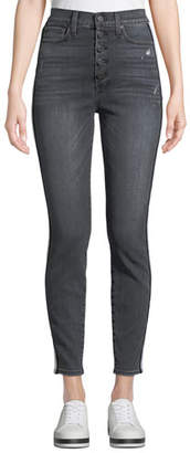 Alice + Olivia AO.LA by Alice+Olivia Good High-Rise Exposed Button Skinny Jeans with Stripes