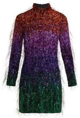 Ashish Tinsel Sequin Embellished Silk Georgette Dress - Womens - Multi