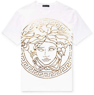 Versace Metallic Printed Cotton-Jersey T-Shirt - White