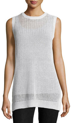 Eileen Fisher Sleeveless Linen Jewel-Neck Fisherman's Knit Tunic $178 thestylecure.com
