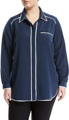 Melissa McCarthy Pajama-Style Button-Front Blouse, Plus Size