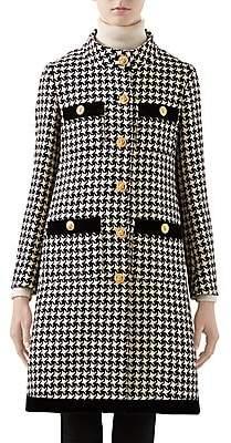 Gucci Women's Tweed Houndstooth Velvet-Trim Wool-Blend Peacoat