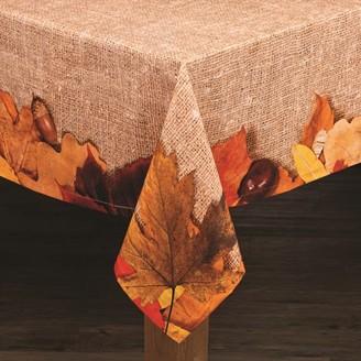 "Lintex Linens Autumn Leaves 100% Cotton Tablecloth 60"" X 84"""