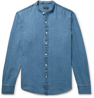 Club Monaco Grandad-Collar Linen-Chambray Shirt