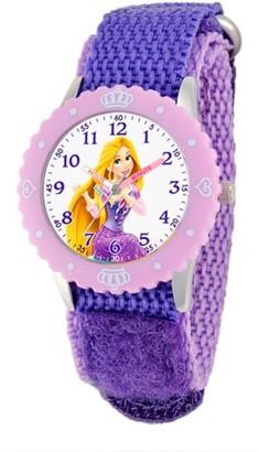 Disney Princess Disney Rapunzel Girls' Stainless Steel with Bezel Watch, Purple Nylon Strap