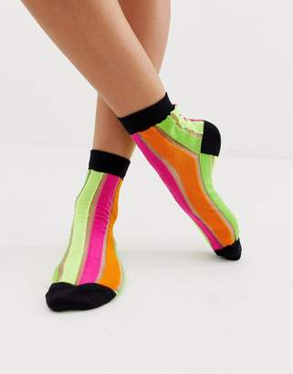 Asos Design DESIGN neon striped socks