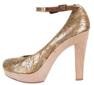 Lanvin Lame Ankle Strap Pumps