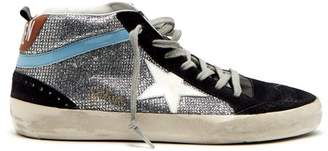 Golden Goose Midstar Glitter And Suede Trainers - Womens - Silver Multi
