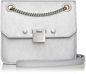 Jimmy Choo REBEL/XB Silver Metallic Soft Grained Goat Leather Cross Body Bag