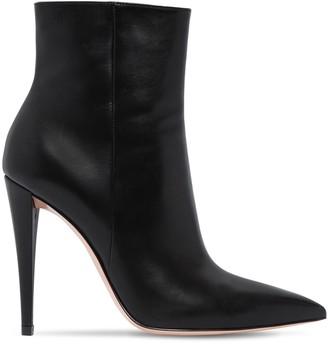 Gianvito Rossi 100MM SCARLET LEATHER ANKLE BOOTS