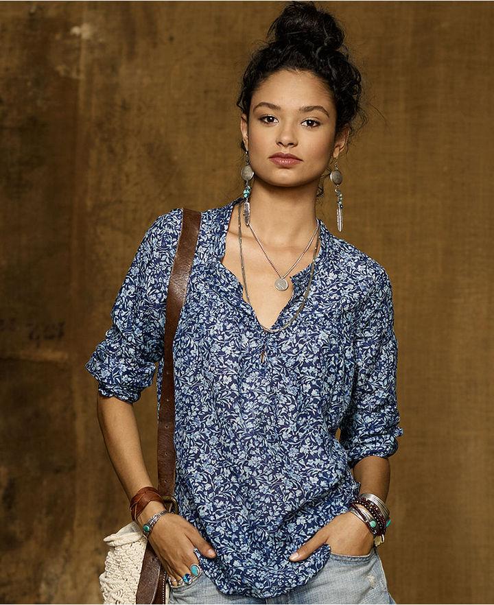 Denim & Supply Ralph Lauren Top, Long-Sleeve Floral-Print Silk