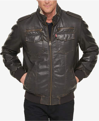 Levi's Men's Faux-Leather Aviator Bomber Jacket with Fleece Lining